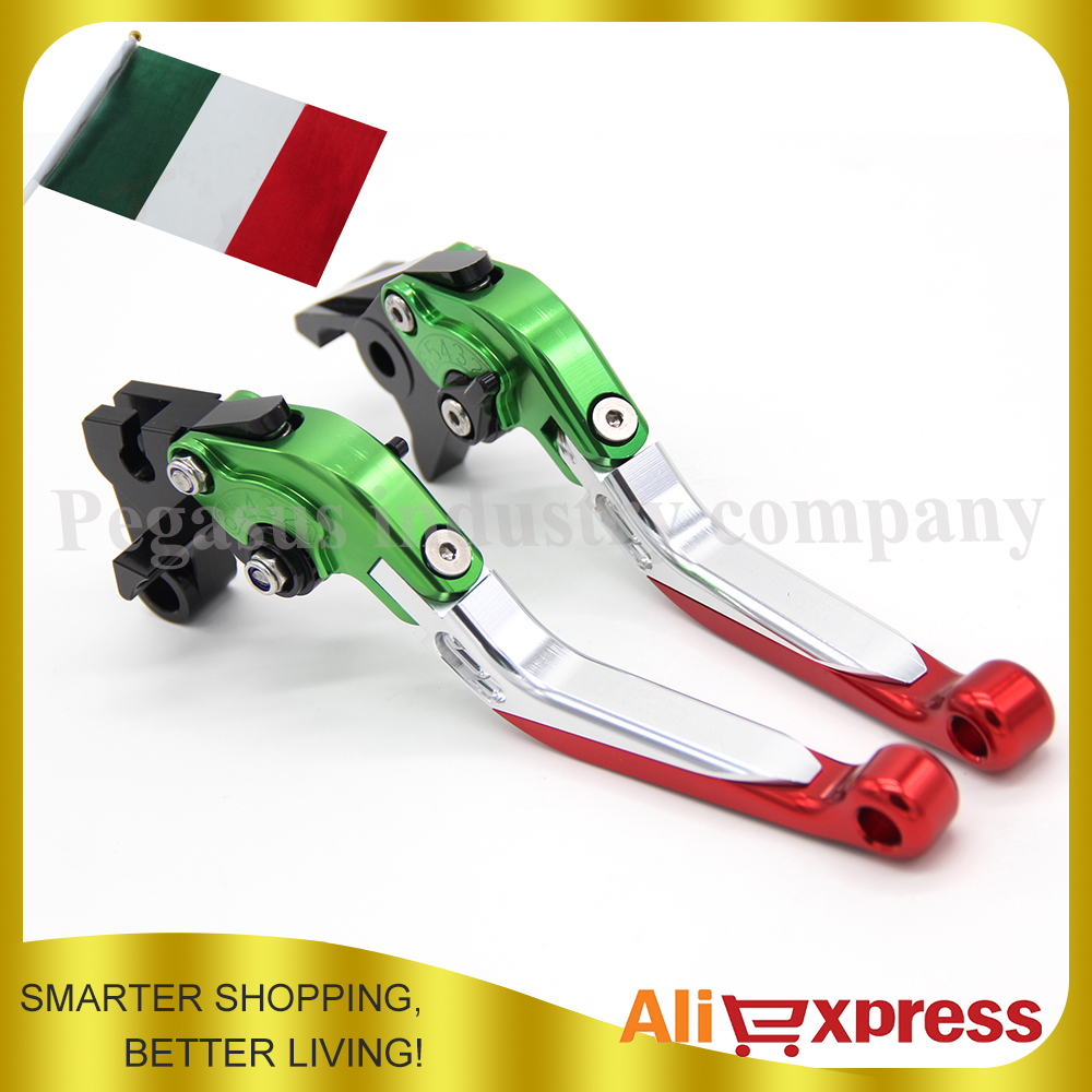 Italy Flag Design For DUCATI MONSTER 400 695 620/MTS S/S2R 800 CNC Billet Aluminum Folding Extendable Brake Clutch Levers<br>