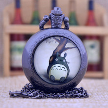New Arrivals My Neighbor Totoro Japanese animated film movie Dome Design Quartz Pocket Watch Necklace Men Women Pocket Fob Watch