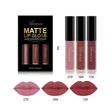 New 3Colors/Set Nude Liquid Lipsticks Lipgloss Make Up Pigments Sexy Red Velvet Matte Lip Gloss Lip Tint Makeup Cosmetics Kit(China)