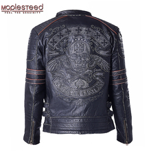 Factory Genuine Cow Skin Skull Leather Motorcycle Jacket Men's Leather Jackets Men Motor Biker Jacket Male Leather Coat ZH083