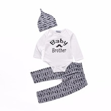 Autumn Newborn Baby Girl Clothing Set Baby Brother Romper + Pants + Cap 3pcs Tracksuit For Infant Boys Sport Suits Winter Cotton