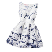 Elegant Dress For Girl Flower Printed Teen Girl Party Clothes Fashion Satin Kids Frock Designs Children Clothing Girl 12 Years