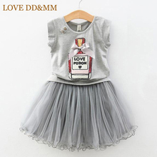 Hot Summer New Girls Clothing Sets Kids Sequin Bow Elegant Perfume Bottles T-shirts + Yarn Skirt Suits Children Clothes(China)
