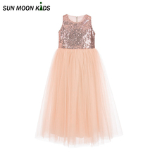 Sun Moon Kids Girls dress 2017 girl dress Sequins new brand 5-14Years teenager 2017 summer clothes party girls dress