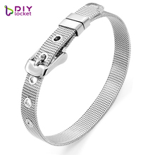 diylocket 8mm/10mm Stainless Steel Bracelet Fashion Wristband bracelet Fit Slide Charms & Letters Men Woman Jewelry LSBR01-02(China)