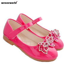 WEONEWORLD Enfants New Children Princess Sandals Kids Girls Wedding Shoes Flat Heels Dress Shoes Party Shoes for Girls 3 Colors(China)