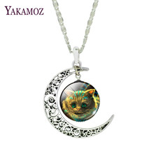 Moonlight Series Pendant Necklace Cheshire Cat Design Silver Plated Jewelry Collar Statement Necklace for Women 2017(China)