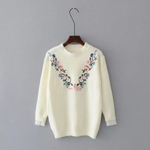 A06 Europe and America fashion wind core yarn embroidered sweater(China)