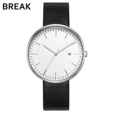 Buy BREAK Minimalism Top Luxury Brand Black Leather Strap Fashion Causal Dress Business Quartz Wristwatches Gift Watch Men Women for $42.80 in AliExpress store