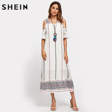 Buy SHEIN Tribal Print Open Shoulder Tiered Hem Dress White Cold Shoulder Half Sleeve Women's Dresses Summer V Neck Long Dress for $18.97 in AliExpress store