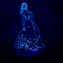 New Elegant girl Gift Kid Elsa Anna Toy 3D USB Night Light 7 Colors Changing Princess Gradient LED Lamp Christmas Gift Table(China)