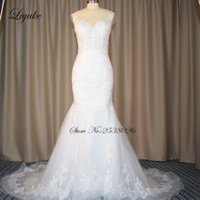 Buy Liyuke Elegant Tulle Scalloped Neckline Mermaid Wedding Dress Appliqued Cap Sleeve Trumpet Bridal Dress Count Train for $179.54 in AliExpress store