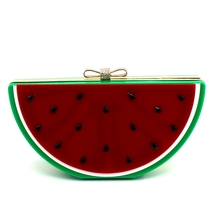 Bolsa Women Leather Handbags 2016 Rushed Day Clutches Single Chains Bolsos New European Lovely Fruit Shape Watermelon Bag Hand(China)