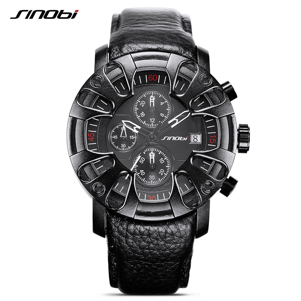 SINOBI S9760 Watch for Men Sports Quartz S Shock Watches With Soft Leather Straps Eagle Claw Top Brand Luxury relogio masculino<br>