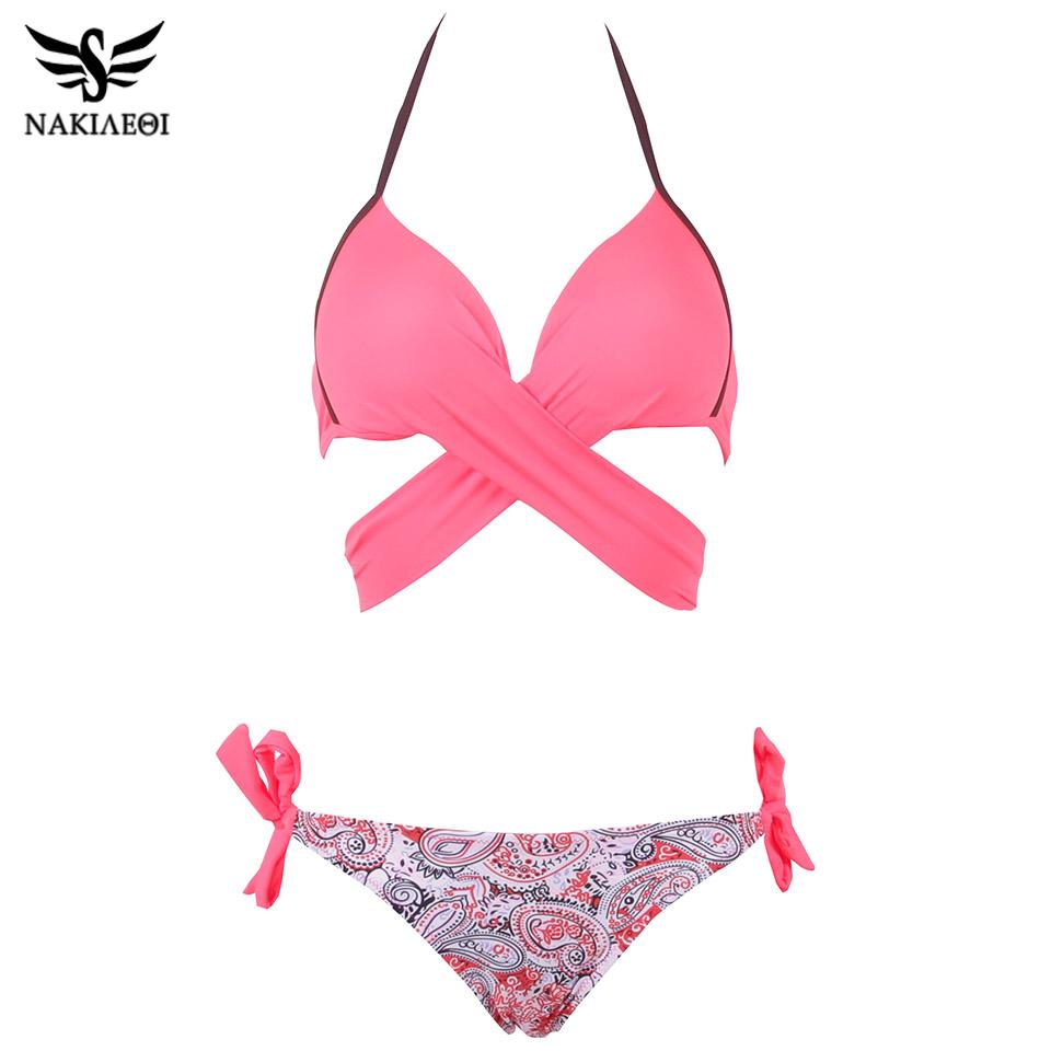 NAKIAEOI 19 Sexy Bikini Women Swimsuit Push Up Swimwear Criss Cross Bandage Halter Bikini Set Beach Bathing Suit Swim Wear XXL 30