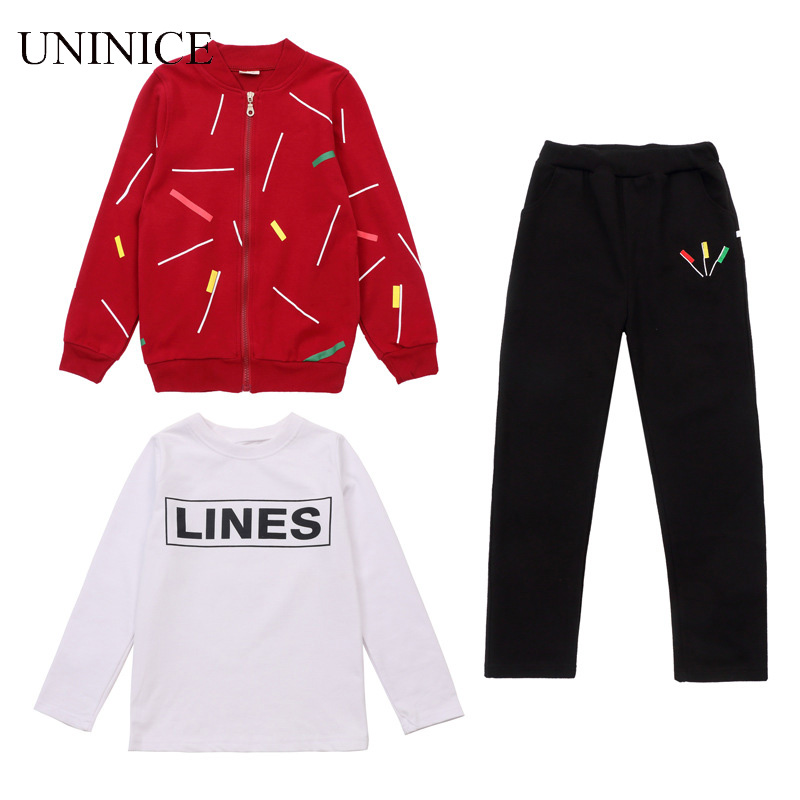 UNINICE Boy Clothes Autumn Coat+Pant+Top Inner 3Pcs Teenager Boys Zipper Sport Suit Cotton Long Sleeve Childrens Clothing Boy<br>