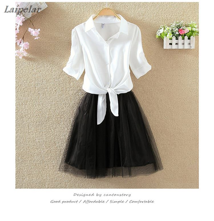 Women Suits Casual Clothing Sets Crop Top Fold Tulle Skirt Blouse 2
