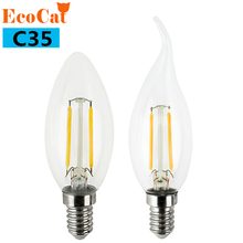 ECO CAT Edison LED lamp C35 E14 LED candle light Filament Retro Clear Lamp 2W 4W 6W 220V 240V Cold Warm White for Chandelier