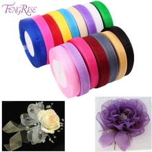 FENGRISE 10mm 45M Organza Ribbon Artificial Flowers Bouquet Decorative Tapes For Wedding Birthday Party Gift Packaging Ribbon(China)