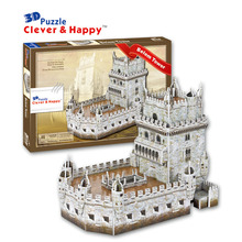 2014 new clever&happy land  3d puzzle model Belem Tower adult puzzle diy paper model games for children paper
