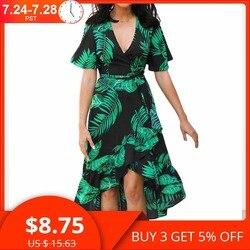 Цветочный принт богемный пляжное платье 2019 летнее женское шифоновое платье с оборками повседневное с коротким рукавом с v-образным вырезом ...