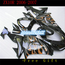 Market hot sales manufacturers Ninja ZX10R 2006 2007 kawasaki ZX10R 0607 smooth black motorcycle fairing of orange flames-Hey(China)