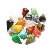 WHOLESALE 1pcs Mix Multi-style Pendulum Shape Natural Stone Charms Pendants Necklace jewelry making for women(China)