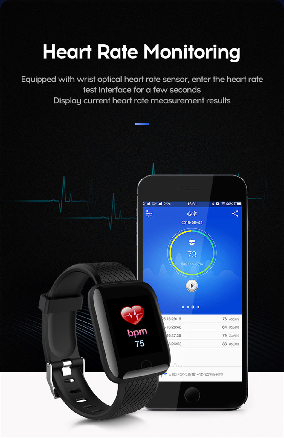 11-130435- Sport Smartwatch Women Heart Rate Monitor Smart Watch Men Blood Pressure Waterproof Fitness Tracker Watch For Android ios 2019