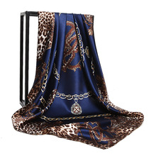 2017 Luxury brand designer large square scarf for women Leopard print silk foulard female neck scarves shawls and wraps poncho(China)
