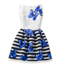 2017 HOT Girls Dresses Teenagers Dresses for Girls Elsa Dress Butterfly Print Princess Party Dress Vestidos Kids Costume Clothes(China)