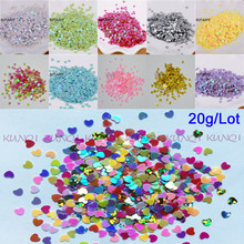 New Hot 20g 3mm Love Heart Shape PVC loose Sequins Glitter Paillettes for Nail Art manicure/sewing/wedding decoration confetti
