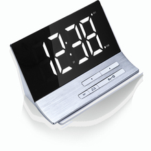 2017 new fashion clock LED simple mirror 5-60 minute snooze big clear screen display dimming backlight luminous dual alarm