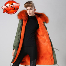 Beautiful Orange fashion cheap bright orange long style winter raccoon  fur coat,Mr&,mrs long style fur jacket for wholesale