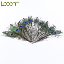 Looen 10Pcs 25-30cm Beautiful Peacock Feather Natural Peacock Feathers Eyes Feathers For Craft Art Dress Hats Bridal Costume(China)