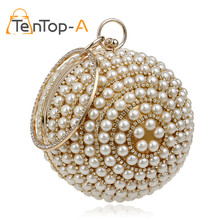 TenTop-A Women's Pearl Beaded Evening Bags Factory Selling Pearl Beads Clutch Bags Handmake Wedding Bag Beige Black High Quality(China)