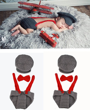 2016 Newborns Photo Props Infant Knitting Outfit Crochet Baby Boy Gentleman Hat Bow Tie Pants Set Knitted Baby Hat s MZS-15039(China)