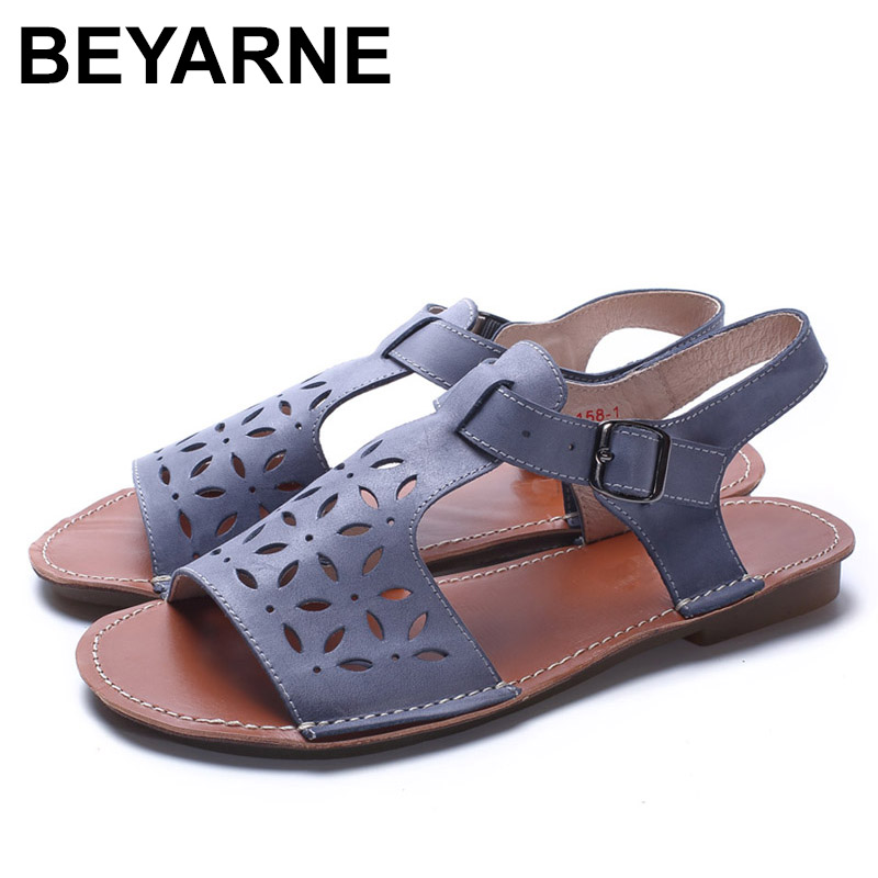 BEYARNE  Woman Shoes Gladiator Women Sandals Genuine Leather Ladies Flat Sandals Summer Shoes Female Footwear <br>