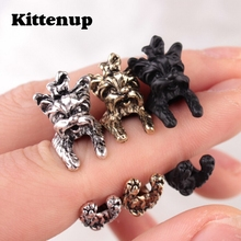 Kittenup New Fashion  Cute Dog Rings For Women Poodle Jewelry Gift  In Black Gold Silver Color Opening Ring