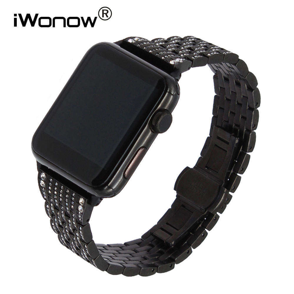 Rhinestone Diamond Watchband for iWatch Apple Watch 38mm 42mm Series 1 2 Stainless Steel Band Butterfly Buckle Wrist Strap Black<br>