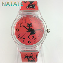 NATATE Women Brand Willis Fashionable Mini Watch Cat Design Water Resistant Analog Ultrathin Silicone Band Wrist Watch 1150