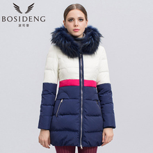 BOSIDENG women's clothing winter down coat medium-long down jacket dye fur collar hooded high quality thick down coat B1401178