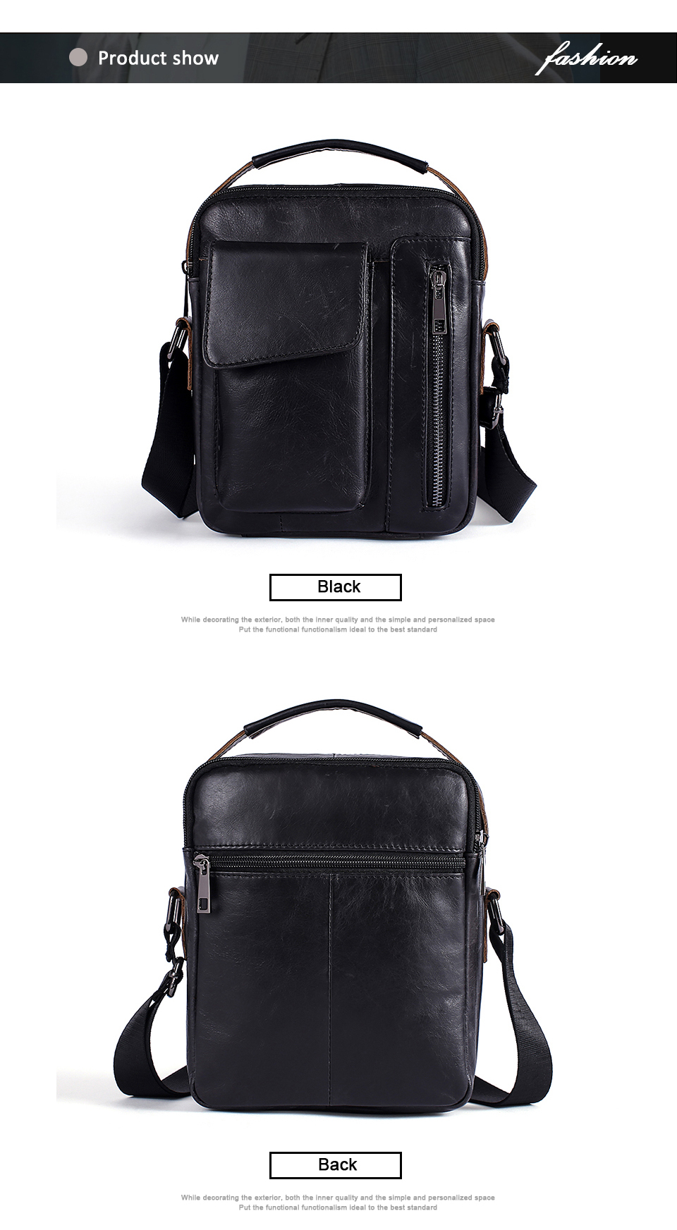 Men's Bags Genuine Leather Bag Male Messenger Crossbody Bags Casual Cowhide Flap Leather Men Shoulder Bag Man (4)