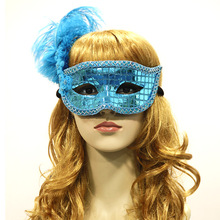 Women Feather Mardi Gras Masks Costume Party Masquerade Blue Masque Elastic Rope Fantasy Half Mask Venetian Pretty Factory OEM(China)