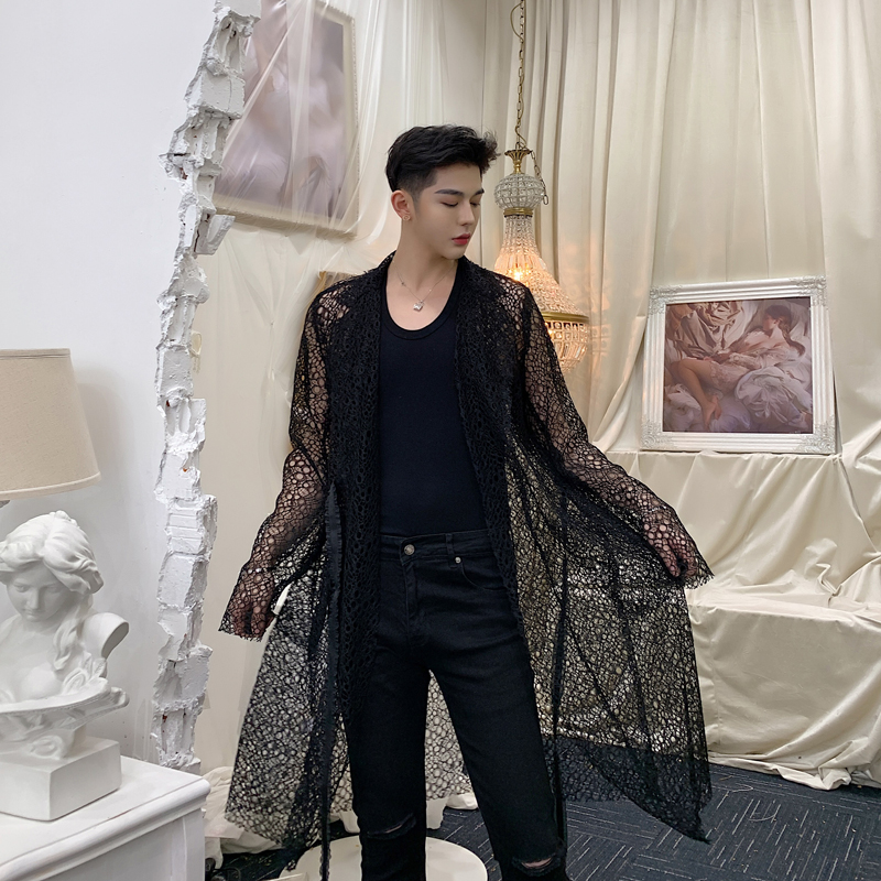 2019 Spring summer men hollow out lace mesh sexy long trench coat see-through overcoat man vintage fashion long jacket cape