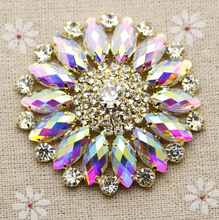 55mm Crystal AB Round Flower Sew On Rhinestone With Claw Setting Fancy Stone Rhinestone applique Buttons For Party Dance clothes