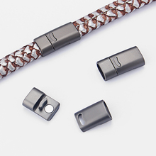 3Sets Flat Magnet Clasp Matte Gun Black Magnetic Clasp Flat 10*5.5mm Leather Cord Bracelets Jewelry Findings