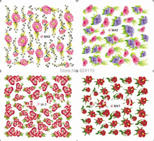 100pcs/lot Free Shipping Middle Sheet Water Transfer nail accessories China flower nail decal M40-M43