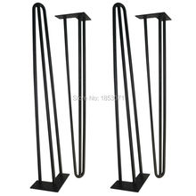 "Free shipping -28"" hairpin legs - matte black - 3 rods - set of 4 - dining table legs, strong furniture legs,table legs for sale"