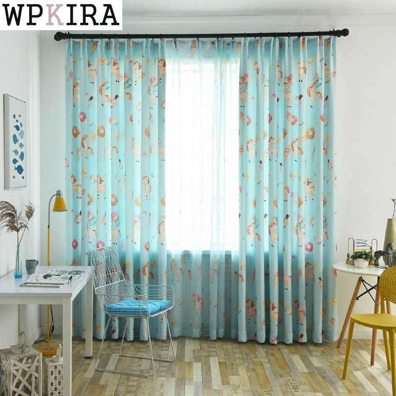 Curtain For Living Room Children Bedroom Cartoon Printed Voile Curtain kids Curtains Cloth Tulle Cortinas 114&30
