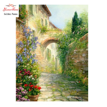 2017 Needlework,DIY DMC 14CT Cross stitch Kit,  Tuscan Alley With Flower Pattern Embroidery Cross-stitch Painting Home Decor New